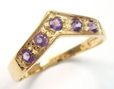 SYJEWELLERY 9CT SOLID YELLOW GOLD ROUND NATURAL AMETHYST RING      R1186