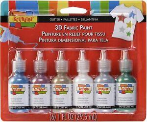 Scribbles 3d Fabric Paints 1oz 6/Pkg-Glitter