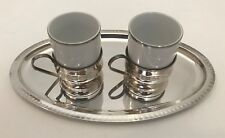 Vintage Porcelain Silver Plate 3 Piece Espresso Cup And Tray Set Coffee Cups