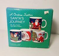 Santa's Journey Stoneware Santa 4 Mug Cup Set A Christmas Tradition With Box