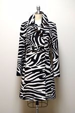 CELINE Black Ivory Zebra Print Double Breasted Wool Coat Made in France Size 40