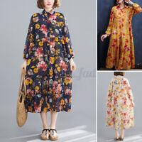 ZANZEA 8-24 Women Long Sleeve Button Down Shirt Dress Sheer Maxi Floral Sundress