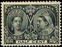 Canada #50 mint F-VF OG NH 1897 Queen Victoria 1/2c black Diamond Jubilee