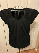 Women's Clothing ANA Blouse Shirt Top Black Gathered Front Size XL
