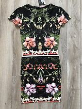 TOPSHOP fitted bodycon dress tropical jungle sport Black  US 2 UK 6 stretch