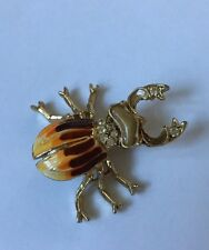 Vintage  Enamel Painted Jewel Stag Scarab Beetle Insect Bug Pin