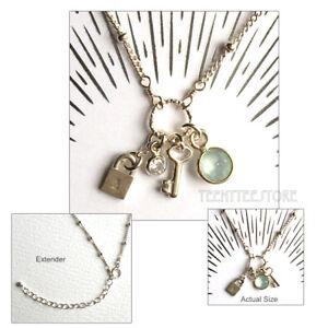 Dogeared Sterling Silver Lock, Key, Blue Chalcedony & Swarovski Crystal Necklace