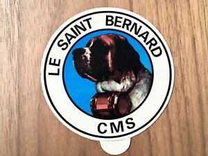 autocollant sticker ancien chien SAINT BERNARD CMS tonneau de rhum