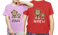 PERSONALISED KIDS Monkey T-SHIRT  Boys Girls ANY NAME BIRTHDAY GIFT