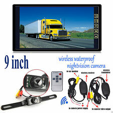 "Wireless Car Rear View System+HD 9"" Monitor Mirror+IR LEDs Reverse Backup Camera"