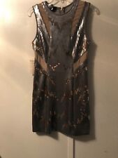 BEBE GISSELE MESH SEQUIN FITTED  DRESS  SIZE M  NWT