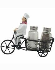 French Bistro Chef bike Salt and Pepper Shaker Holder Set included Home Decor