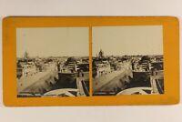 Francia Angers Vista de La Ayuntamiento c1900 Foto Estéreo Vintage Analógica