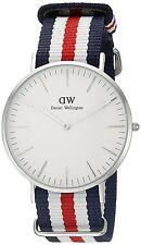 Daniel Wellington 0202DW Classic Canterbury Mens Silver Watch 40mm Nylon Strap