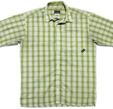 Patagonia Mens S Short Sleeve Button Up Shirt Green EUC