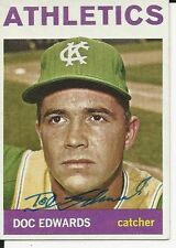 Autographed 1964 TOPPS  #174 Doc Edwards  Kansas City A's card w/ COA