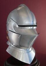 16ga Medieval Warrior Knight Battle Visor Close Helmet With Bevor