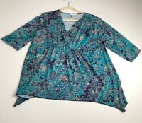 Como Women's ¾ Sleeve Crossover Top Blouse 1X Plus Blue Floral Stretch V Neck