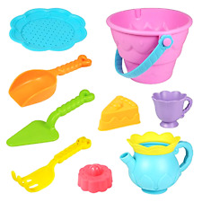 Beach Toys Set Sand Toys for Kids, 9-Piece with Shovels Bucket, Beach Toys Lot
