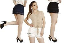 Crochet Flirty Tiered Ruffle Lace Mini Micro Shorts Skort Stretch short pants