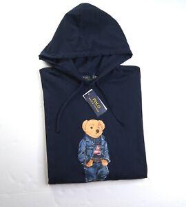 POLO RALPH LAUREN Big & Tall Navy Blue Denim Jacket Bear Jersey Hooded T-Shirt
