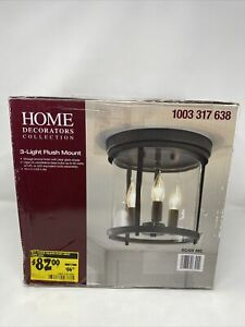 NEW HOME DECORATORS 3-Light Vintage Bronze Flush Mount with Clear Glass