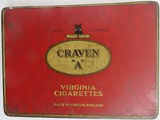 Craven A VIRGINIA CIGARETTES TIN SIGN BOX CORK TIPED Cat trade mark London Adv.