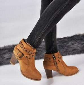 Women's Studded Riding Boots Block High Heel Spike Plus Size Suede Booties NEW