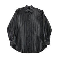 Brioni Mens Striped Dress Shirt Black Neman Marcus Button Down Long Sleeve Large