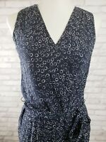 Talbots size 2 Navy Blue Jumpsuit with White Circles Wrap Look Bodice