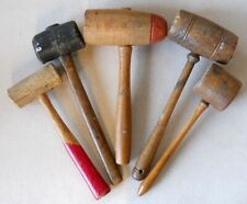 5 Vintage Wood & Leather Mallet Maul Saddlemakers Carpenters Other Trades