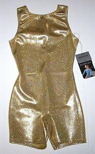 Danskin Biketard Unitard Gold Diamonds Hologram Bike Shorts New Child Girl I 6 7
