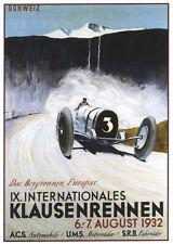 Auto Racing Poster 1932 Swiss Alps Bugatti T53