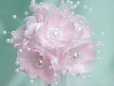 WEDDING/CRAFTS/CORSAGE/FAVOURS PINK FLOWER WITH PEARLS
