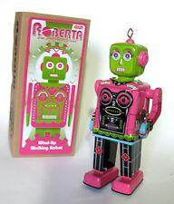 Female Space Robot Roberta Tin Windup Toy Robot Retro Vintage Style