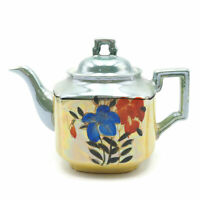 Vintage Japanese Hand Painted Multicolored Floral Lusterware Enamel Teapot