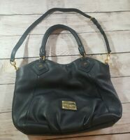 MARC by MARC JACOBS Classic Q Fran Leather Purse Gold Logo Plate BLACK Authentic