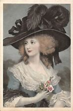 POSTCARD    GLAMOUR   Girl with the  large  hat
