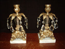 "Vintage Marble Ornate Gold and Crystal Prism 8"" Candle Holders"