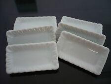 Set of 6 White Rectangular Plate/Tray Dollhouse Miniatures Ceramic Kitchenware