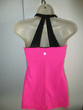 LULULEMON ~SCOOP ME UP~ SEXY BACK HOT PINK BLACK Tank  SZ 6 or 8 Raspberry Glow