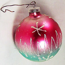 Vintage Glass Xmas Tree Ornament Pink Aqua Silver Glitter West Germany D.G.M.a3""