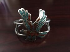 Silver Navajo Inlay Eagle Bracelet Ladies Turquoise, Coral & Sterling