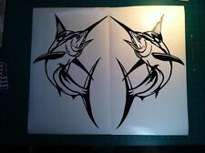 2 Marlin Fish Large swordfish Decals Boat Fishing graphic window sailfish v3