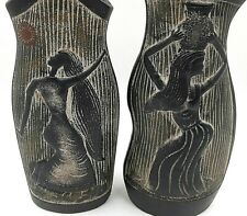 African Water Carrier Textured Ceramic Vases Tribal Female Dancing Set of 2
