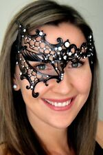 Masquerade Mask - OVERNIGHT to You - Ladies Gothic Style Mask Black with Crystal