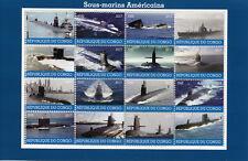 Congo 2017 CTO American Submarines 16v M/S Boats Ships Submarine Stamps