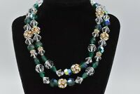 Genuine Glass Green Clear Gold Crystal Strand Vintage Necklace Rhinestone Bin3
