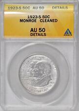 1923-S Monroe Commemorative Half Dollar : ANACS AU50 Details