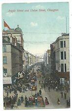 SCOTLAND - GLASGOW, ARGYLE & UNION STREET  1909 Postcard used in NETHERLANDS